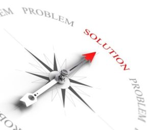 21171251 - compass with arrow pointing to the word solution vs problems 3d render image suitable for business consulting concept, 3d render with depth of field effect